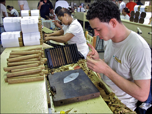 A roller at Tabacalera Palma plying his craft.