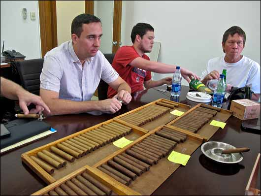 Colin Ganley from Cigar Journal, gets his cigar-tasting game face on.