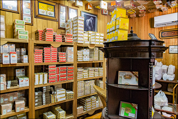 Habanos store shelves.